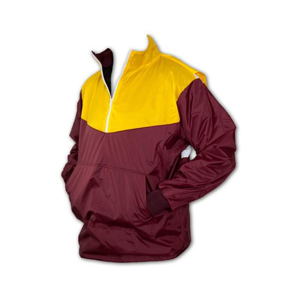 men's yellow and burgundy ¼ zip action back jacket