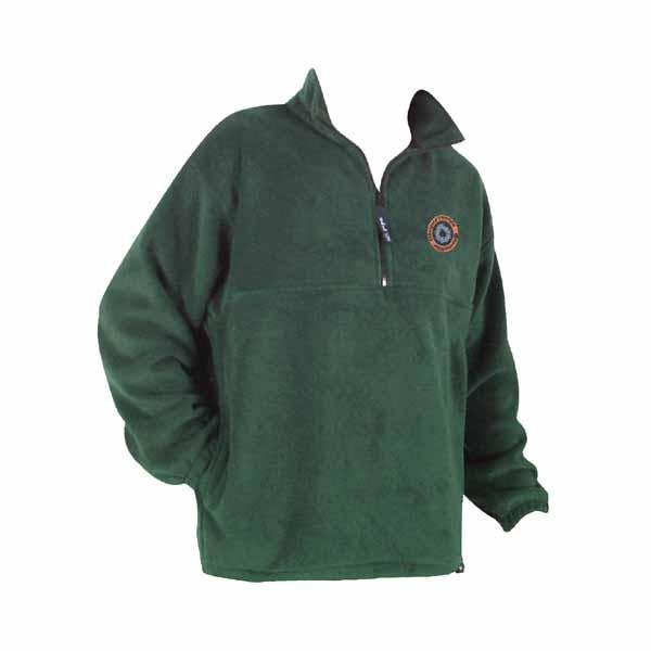 Green unisex polar fleece jacket with 1/4 zip yoke and logo