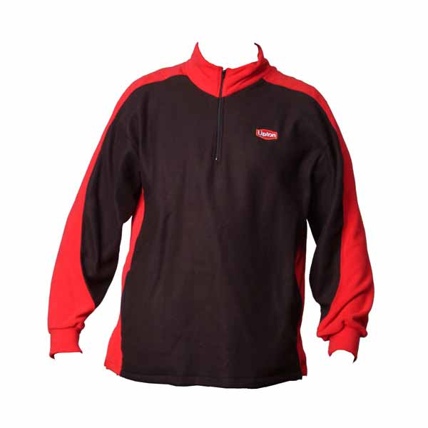 Black and red polar fleece multi-colored 1/4 zip jacket with logo