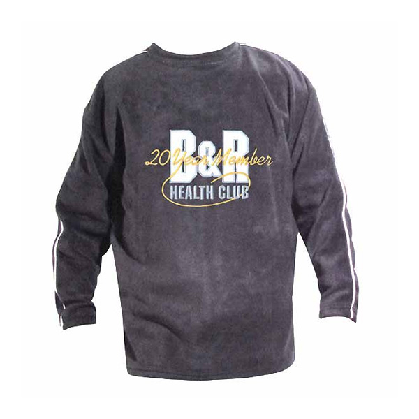 Gray youth crewneck sweatshirt with white piping and large logo