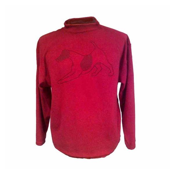 Crewneck fleece sweater red with large dog print