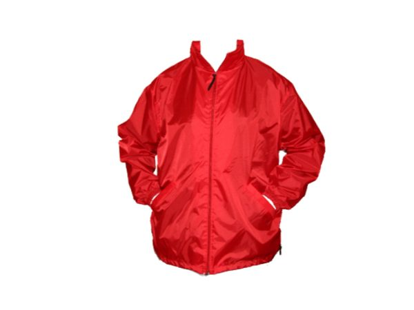 Red ripstop windbreaker with full zipper