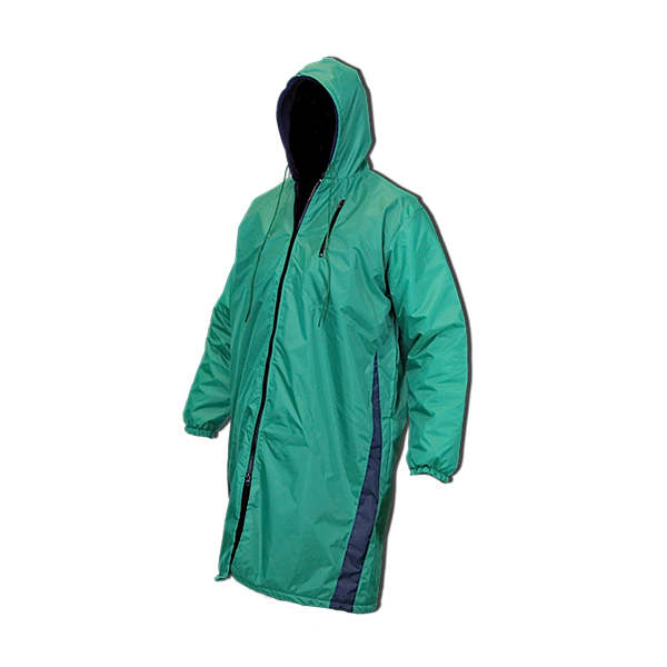 Green spike swimmers parka with black lining