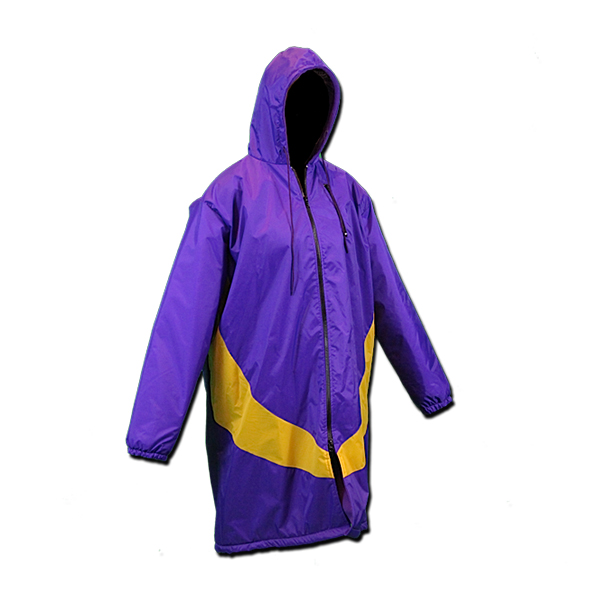 Purple swimmers parka with yellow swoosh
