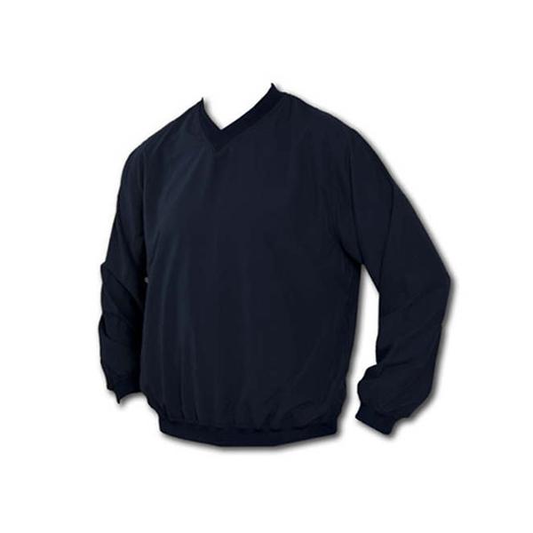 Black v-neck nylon pullover wind shirt
