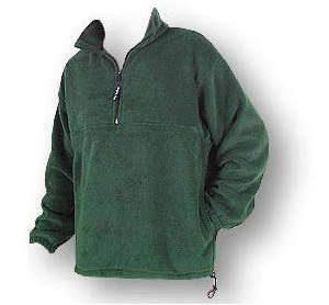 Green unisex polar fleece jacket with 1/4 zip yoke