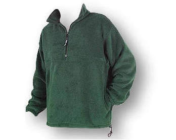 Green unisex polar fleece jacket with 1/4 zip yoke