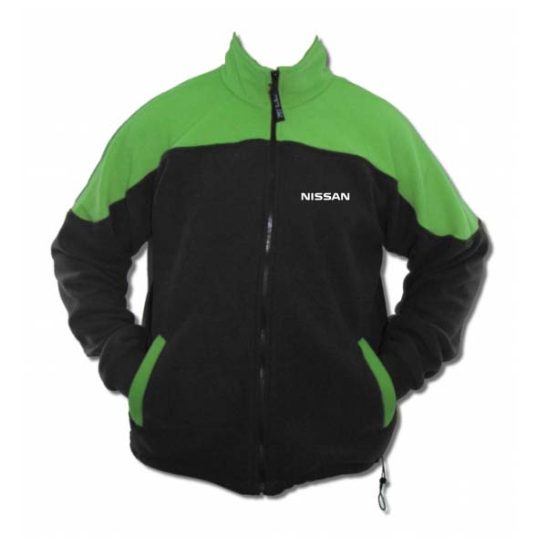 Black and green unisex executive jacket with full zipper and logo