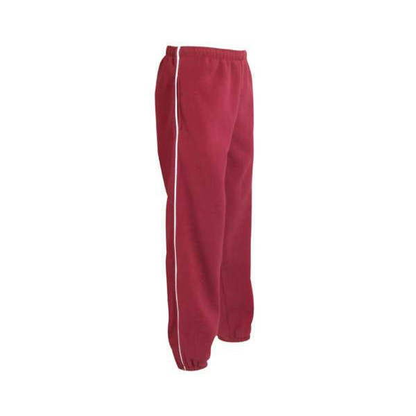 Red fleece athletic pants with white piping