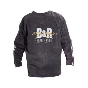 Gray crewneck sweatshirt with white piping and logo in the center