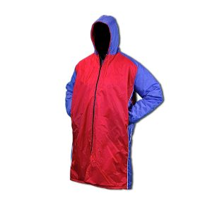 USA Swim parka with red front and back and blue hood, sleeves and full front zip