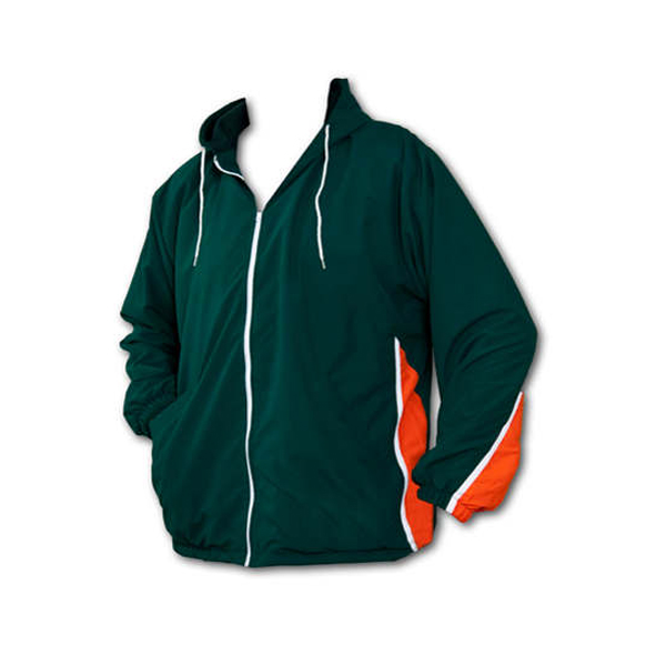 Green long sleeve full zip nylon jacket with hood, inserts, and orange accents