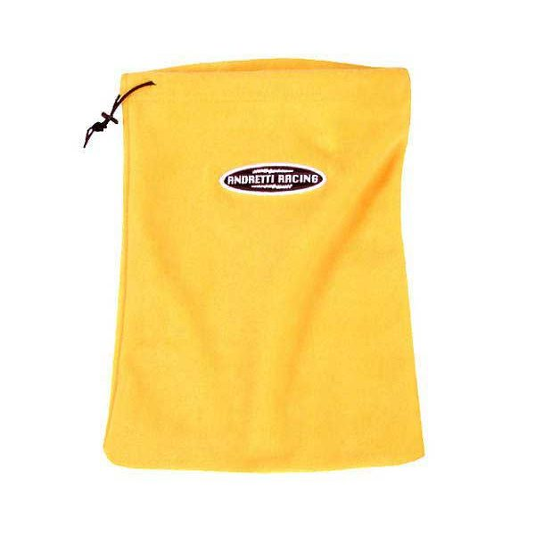 A Yellow drawstring fleece bag with logo on one side.