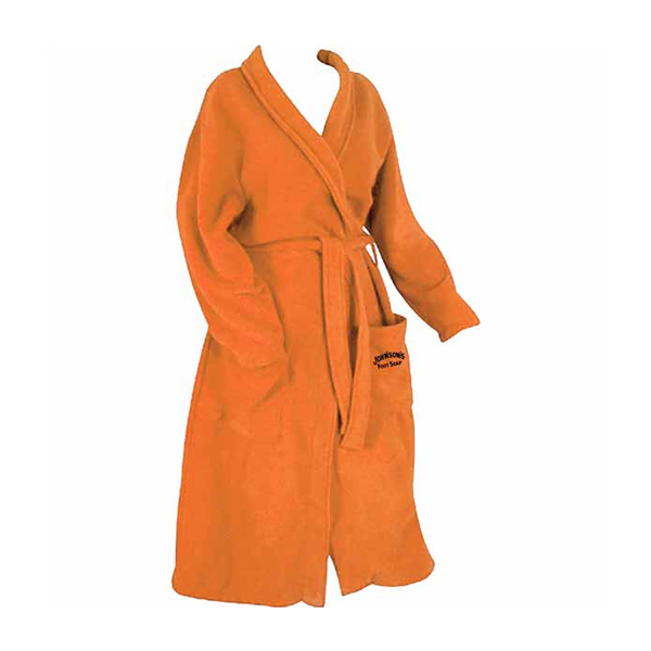 Bright orange adult bathrobe with tie and front pockets