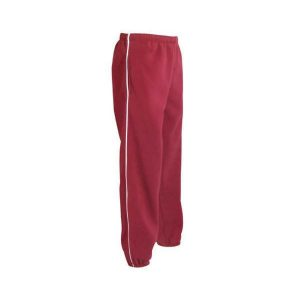 Dark pink polar fleece pants with closed ankles with white piping down the sides