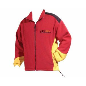 Ladies Red and yellow two tone front zip jacket with side pockets and company logo
