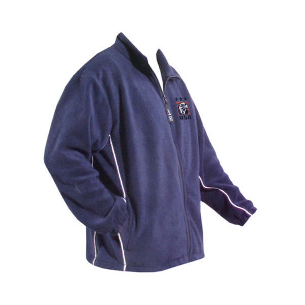 An indigo blue long sleeved full front zip fleece jacket with white piping on sides and logo