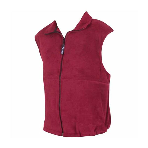 A Dark Pink full front zip vest with side pockets and front yoke