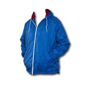 A bright blue full zip front hooded nylon wind breaker
