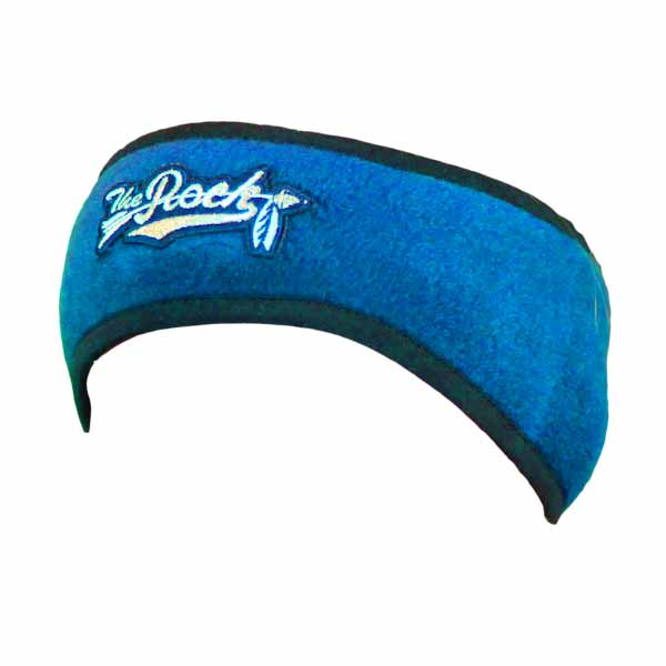 Blue headband with lycra, green edges with logo