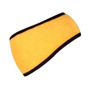 A yellow headband with black cover stitch
