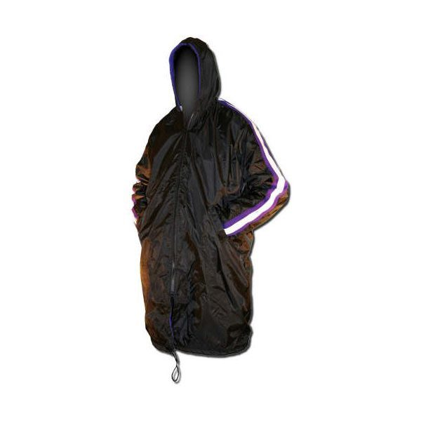 Black hooded swimmers parka with white stripe from shoulder to cuff.