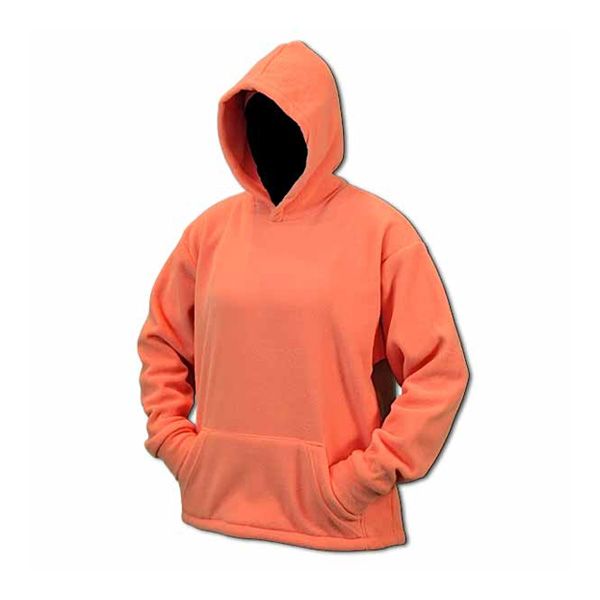 A long sleeve peach hooded fleece sweatshirt with front pocket