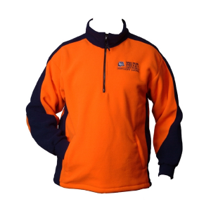 Orange and black fleece jacket with 1/4 zipper and logo