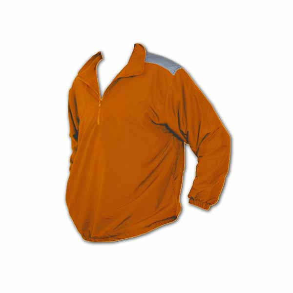 Orange long sleeve pullover jacket with 1/4 zipper