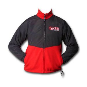 Polar Fleece Jacket 50/50 black and red color with full zipper