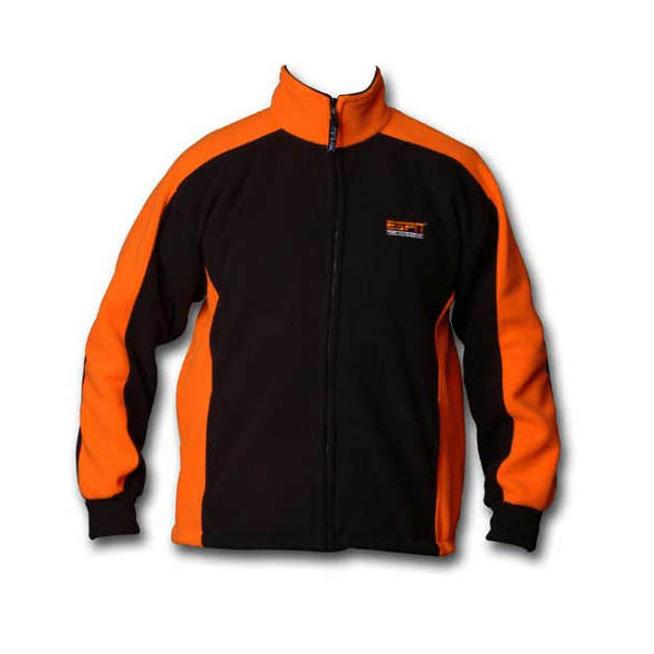 Multi-colored orange and black full zip jacket with logo