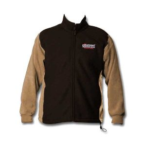 Black and brown vertical full zip jacket with logo