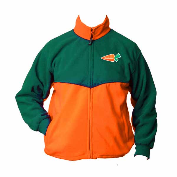 50/50 green and orange full zip fleece jacket with logo