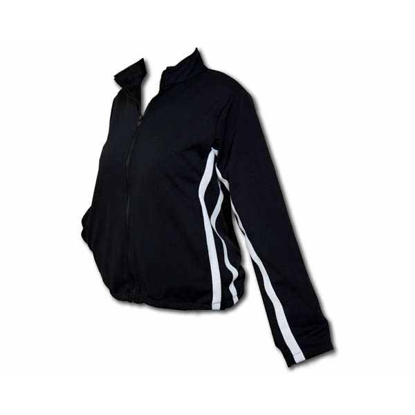 A ladies full zip front track jacket with white piping on the sides