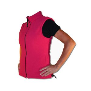 A bright pink ladies fitted vest with black zipper and side yoke