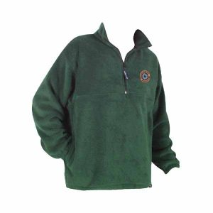 Moss green long sleeve fleece pullover with ¼ front zip