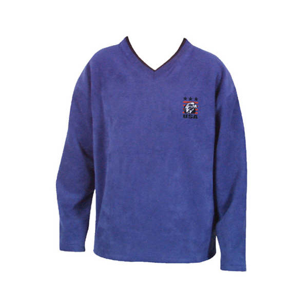 Bright blue v-neck, long sleeve pullover with company log on upper left