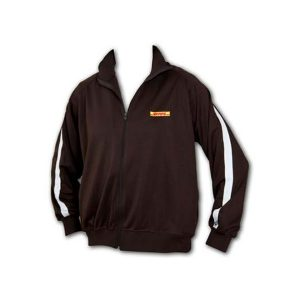 A black Men's Track Jacket with Full Zip Front and white stripe down arms