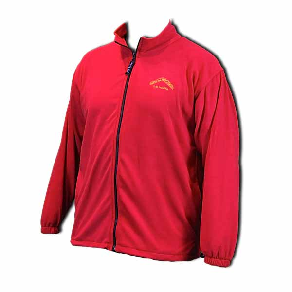 Red unisex full zip polar fleece jacket with logo