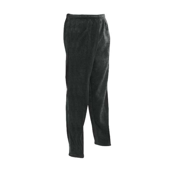 Black unisex polar fleece sweat pants with two front pockets