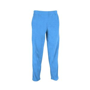 Light blue open leg polar fleece pants with elastic waist