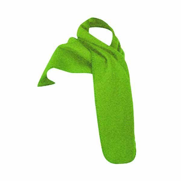 A bright lime fleece scarf