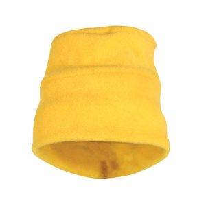 A yellow polar fleece shark hat