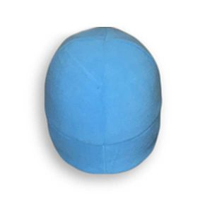 A light blue polar fleece skullcap