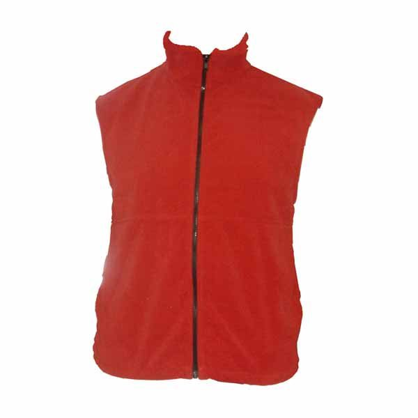 A bright red polar fleece vest with full zippered front