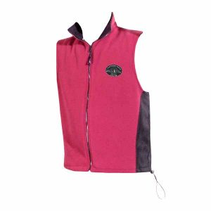 A bright pink polar fleece vest with black inserts and logo on front