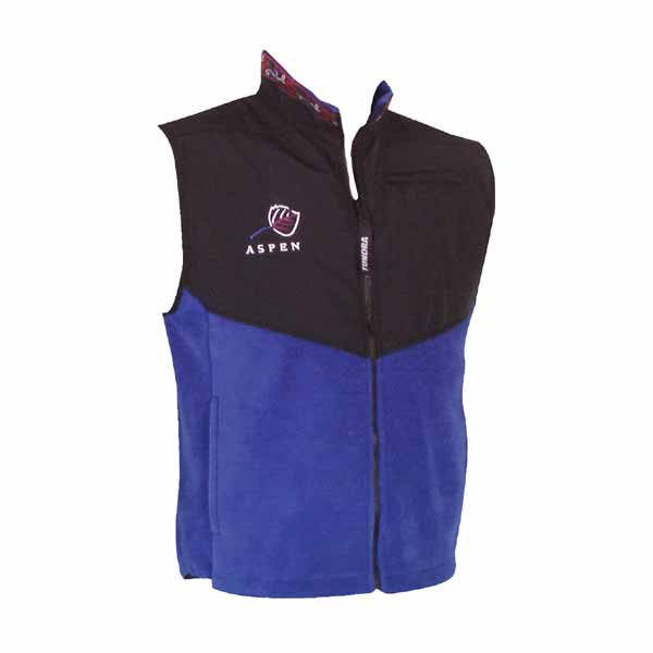 A two tone blue and black fleece vest with full zip front and logo