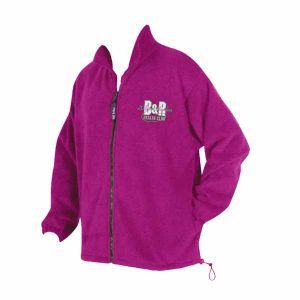 A bold purple long sleeve front zip fleece jacket with company logo