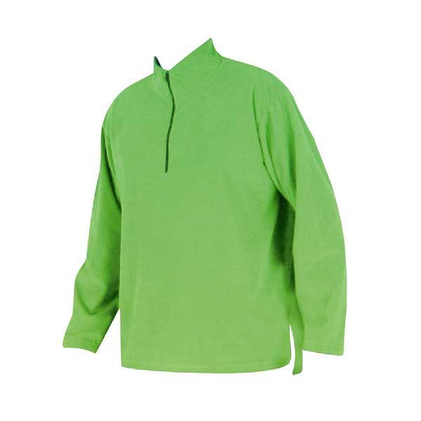 Lime green convertible neck fleece pullover with ¼ zip down the front