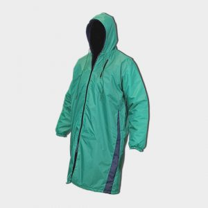 Teal green swim parka with blue point accents down the sides and full zip down the front.